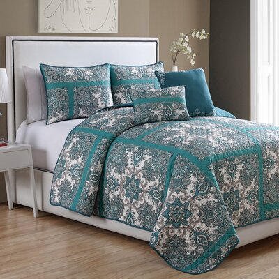Cahill 5 Piece Quilt Set Size: Queen, Color: Teal