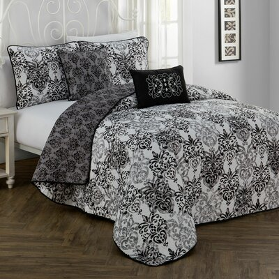 Russett 5 Piece Quilt Set Color: Black, Size: Queen