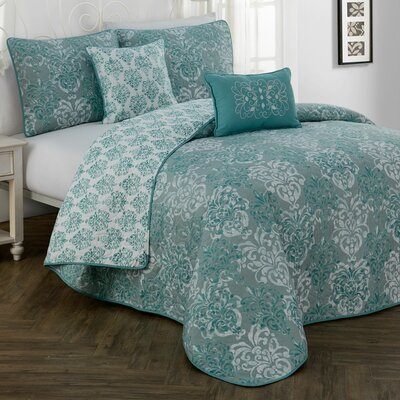Russett 5 Piece Quilt Set Color: Teal, Size: Queen