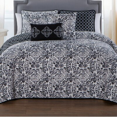 Curtisville 5 Piece Quilt Set Size: Queen, Color: Black