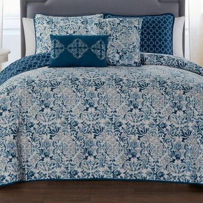Curtisville 5 Piece Quilt Set Size: Queen, Color: Blue