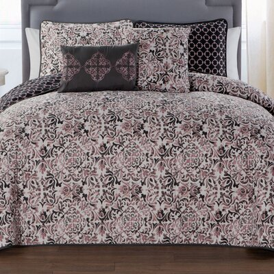 Curtisville 5 Piece Quilt Set Size: King, Color: Gray/Pink