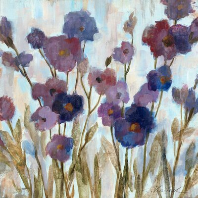 Abstracted Florals in Purple' Painting Print on Wrapped Canvas