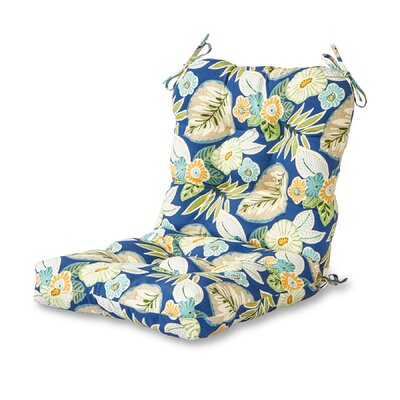 Outdoor Lounge Chair Cushion Fabric: Blue Floral