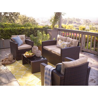 Alcott Hill Raven 4 Piece Sofa Set with Cushions