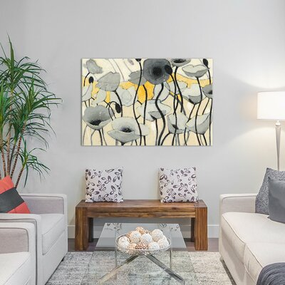 Snow Day Gray Flower Painting Print on Wrapped Canvas Size: 12