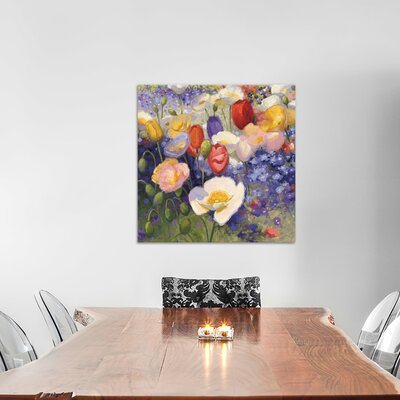 Tulips and Poppy Party Painting Print on Wrapped Canvas Size: 12
