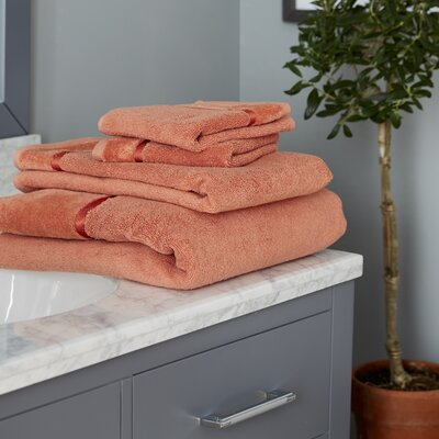 6 Piece Superior Combed Cotton Loops Towel Set Color: Orange