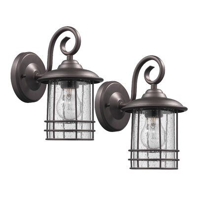 Flintwood 1-Light Outdoor Wall Lantern Finish: Rubbed Bronze