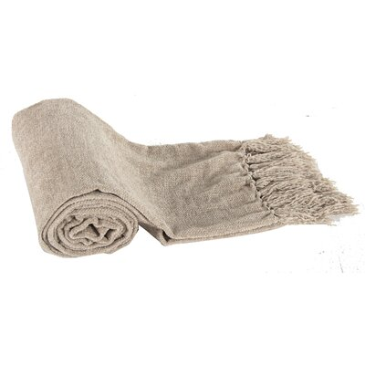 Harborcreek Micro Poly Chenille Throw Blanket Color: Beige