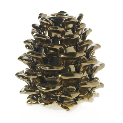 Pine Cone Metal Candlestick Size: 5 H x 4 W x 4 D