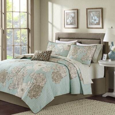 Nellie Coverlet Set Color: Blue, Size: Queen