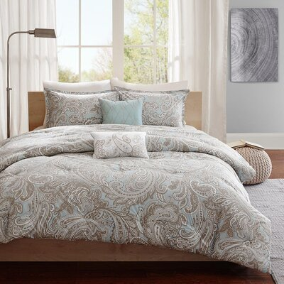 Mathis 5 Piece Comforter Set Color: Blue, Size: King / California King