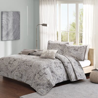 Mathis 4 Piece Coverlet Set Size: King / California King, Color: Gray