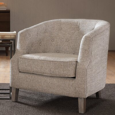 Catalpa Chesterfield Barrel Chair Color: Natural / Multi