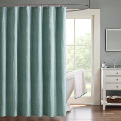 Ambrose Chevron Jacquard Shower Curtain Color: Blue