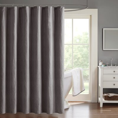 Ambrose Chevron Jacquard Shower Curtain Color: Charcoal