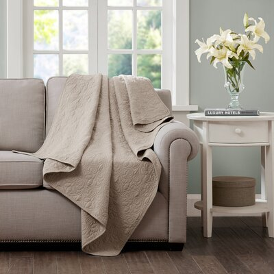 Emy Oversized Quilted Throw Color: Khaki