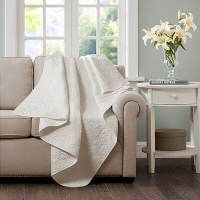 Emy Oversized Quilted Throw Color: Ivory