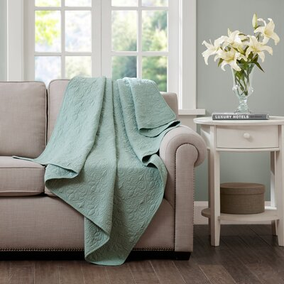 Emy Oversized Quilted Throw Color: Seafoam