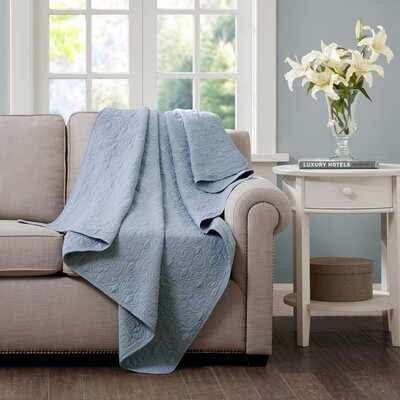 Emy Oversized Quilted Throw Color: Blue