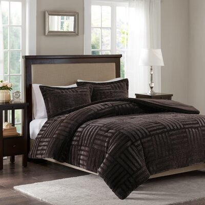 Larkin Fur Down Alternative Comforter Mini Set Size: Twin, Color: Chocolate