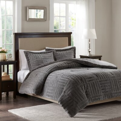 Larkin Fur Down Alternative Comforter Mini Set Size: King/California King, Color: Gray
