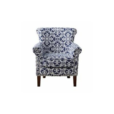 Olson Arm Chair Upholstery: Navy/White
