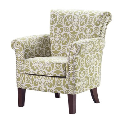 Olson Accent Club Chair with Arms Upholstered Silver Nail Head Upholstery: Sprout Green