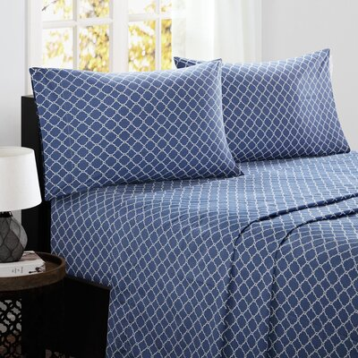 Washburn 200 Thread Count Cotton Sheet Set Size: King, Color: Navy