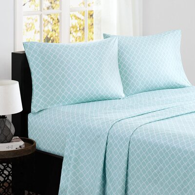 Washburn 200 Thread Count Cotton Sheet Set Size: California King, Color: Aqua