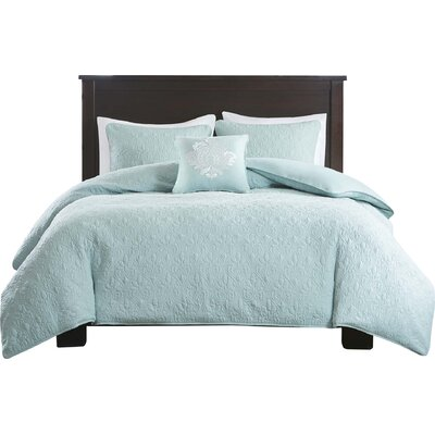 Emy 4 Piece 2-in-1 Duvet Set Size: King/California King, Color: Seafoam