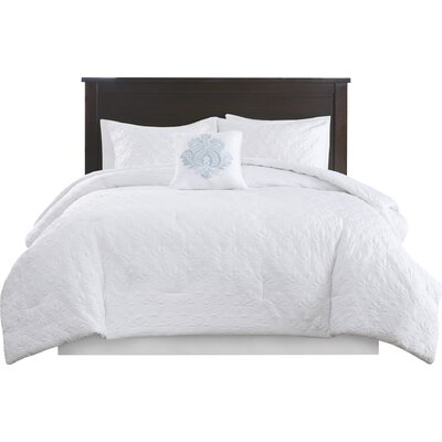 Emy 5 Piece Comforter Set Size: King, Color: White