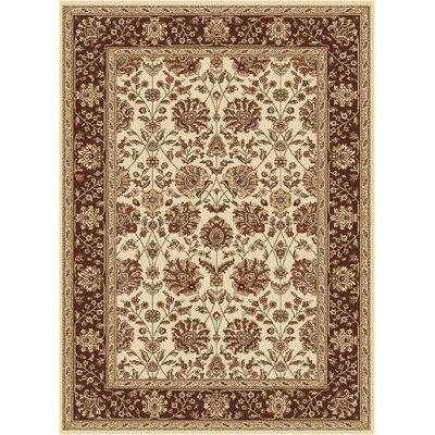 Larabee Beige Floral Area Rug Rug Size: Rectangle 93 x 125