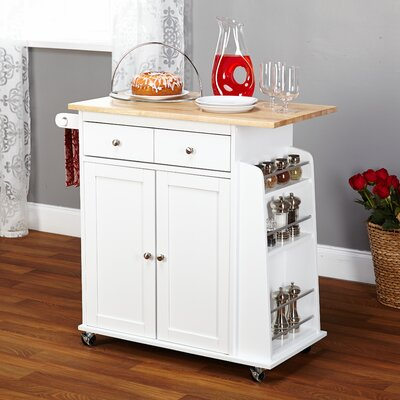Ferraro Kitchen Cart with Wooden Top Base Finish: White