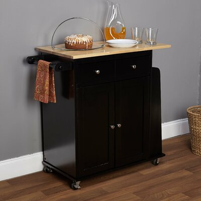 Ferraro Kitchen Cart with Wooden Top Base Finish: Black