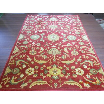 Dunbar Red/Gold Floral Area Rug Rug Size: 67 x 91