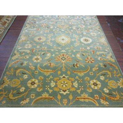 Dunbar Blue/Gold Floral Area Rug Rug Size: 67 x 91