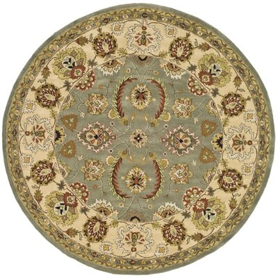 Fenner Light Green/Ivory Area Rug Rug Size: Round 8