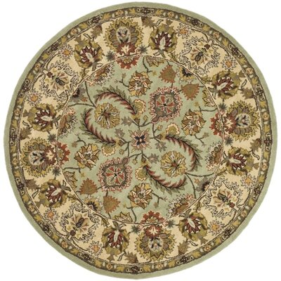 Fenner Light Green/Ivory Area Rug Rug Size: Round 6