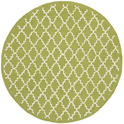Fullerton Hand-Woven Cotton Olive/Ivory Area Rug Rug Size: Round 6