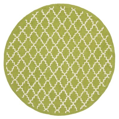 Fullerton Hand-Woven Cotton Olive/Ivory Area Rug Rug Size: Round 4