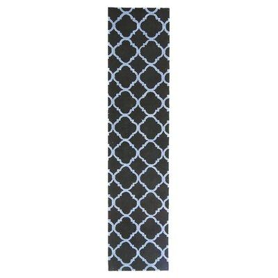 Fullerton Black/Blue Geometric Area Rug Rug Size: Runner 23 x 12