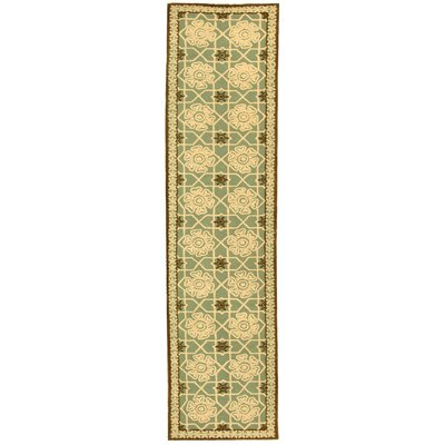 Fullerton Teal/Ivory Geometric Area Rug Rug Size: Runner 23 x 10