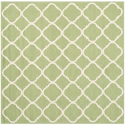 Fullerton Green/Ivory Geometric Area Rug Rug Size: Square 5