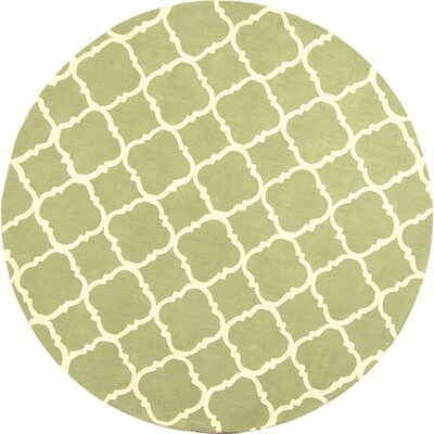 Fullerton Green/Ivory Geometric Area Rug Rug Size: Round 6'