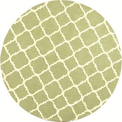 Fullerton Green/Ivory Geometric Area Rug Rug Size: Round 6'