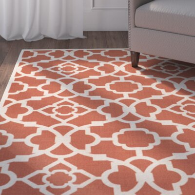 Tarlton Sienna Burnt Orange/White Indoor/Outdoor Area Rug