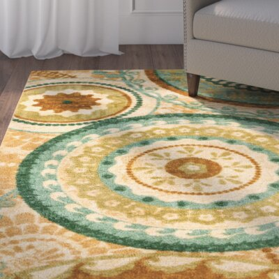Bergen Teal Forest Suzani Area Rug