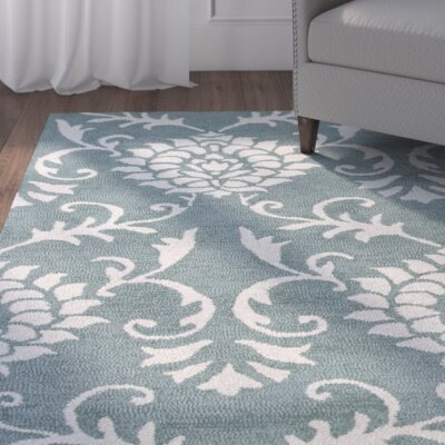 Garrettsville Hand-Hooked Seafoam/Ivory Area Rug Rug Size: Rectangle 5 x 7